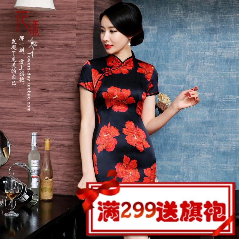 花漾旗袍新款 桑蚕丝真丝旗袍裙 优雅复古气质改良妈妈旗袍A015