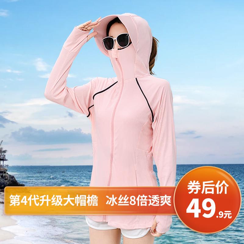 防晒衣女防紫外线2020夏新款连帽长袖透气百搭冰丝骑车户外薄外套
