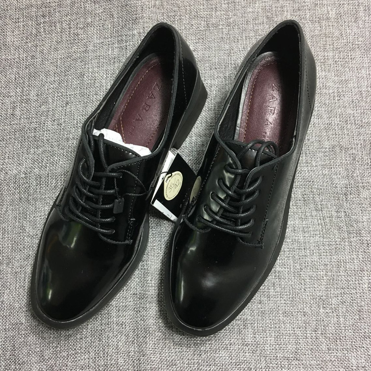 St Zara womens shoes 2016 new British Style Lace Up College style small leather shoes middle heel Derby shoes single shoes 7296