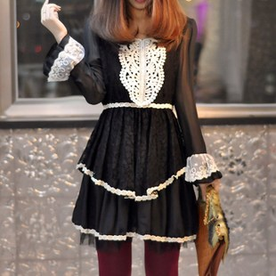 Autumn 2014 new women s dress Mori Japanese female retro Slim openwork crochet chiffon dress