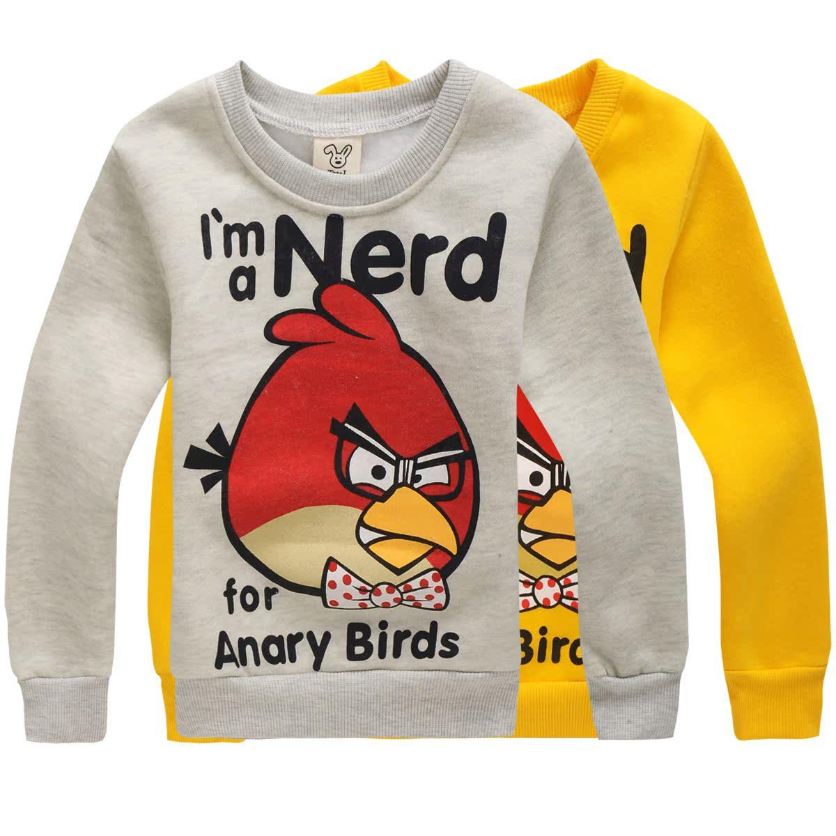 2015 Новый корейский осень angry birds Детский свитер для мальчиков и девочек куртка 9D 6615