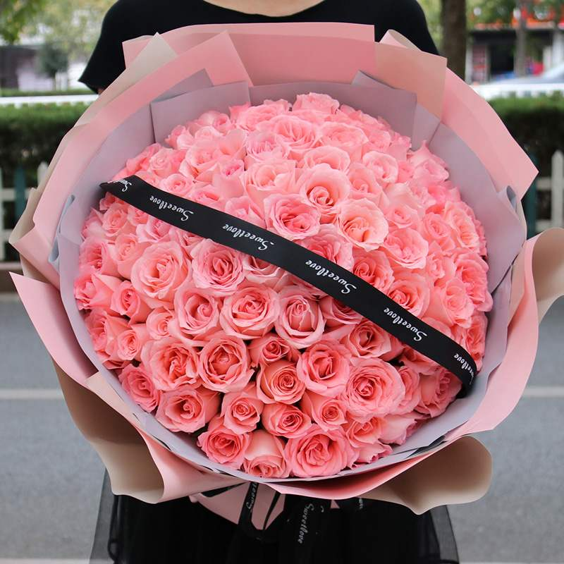Luoyang flower express red powder rose bouquet gift box