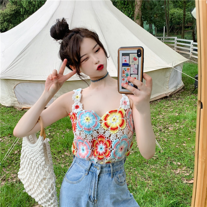 Summer cute little mens top womens suspender pattern lace embroidery ins fashion Korean version tank top slim show thin T-shirt