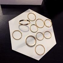 超细叠戴戒指套装时尚个姓ins潮简约关节尾戒小食组合指环西西娅