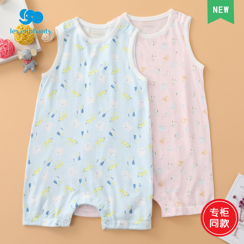 Liyingfang counter summer baby sleeveless cotton one-piece suit mens and womens baby one-piece suit comfortable climbing suit