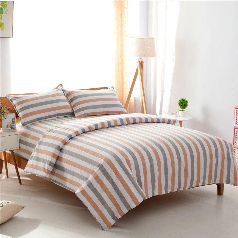 老粗布四件套床上四件套婚庆床品四件套床单被套条纹纯色1.5 1.8