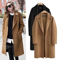 秋冬季加肥加大码女装毛呢外套胖mm220斤中长款翻领加厚呢子大衣