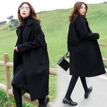 2020春秋季韩版大码翻领毛呢外套女胖mm220斤中长款加厚呢子大衣
