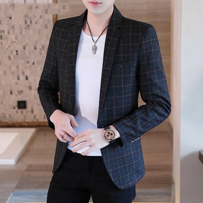 休闲小西装外套男韩版修身潮流春夏季新款帅气男士格子单西服上衣