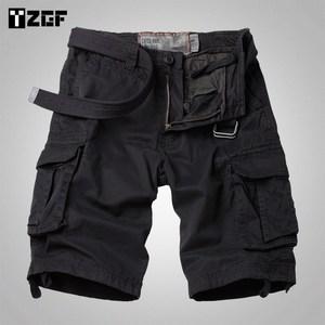 夏季男士宽松直筒工装短裤多口袋黑色中裤户外五分裤休闲短裤大码