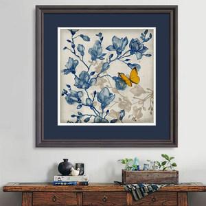 卡农 美式客厅装饰画 实木框挂画 抽象高清画会壁画 玄关画