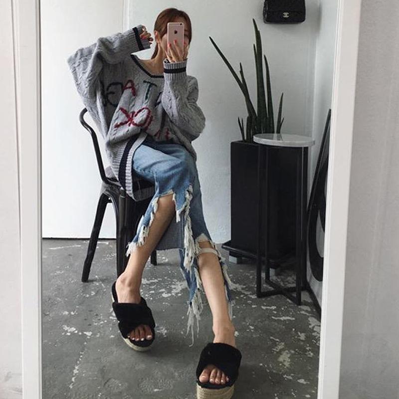 韩国东大门 拉丝下不规则破洞牛仔裤显瘦直筒裤 现货秋款007#