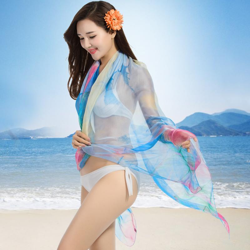 夏季防晒丝巾 长款纱巾女春秋 披肩围巾两用大尺寸女士沙滩巾