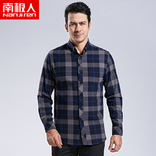 Antarctic Autumn and Winter New Long-sleeved Men's Shirt Pure Cotton Thickened Ground Middle-aged and Old-aged Plaid Dad Shirt