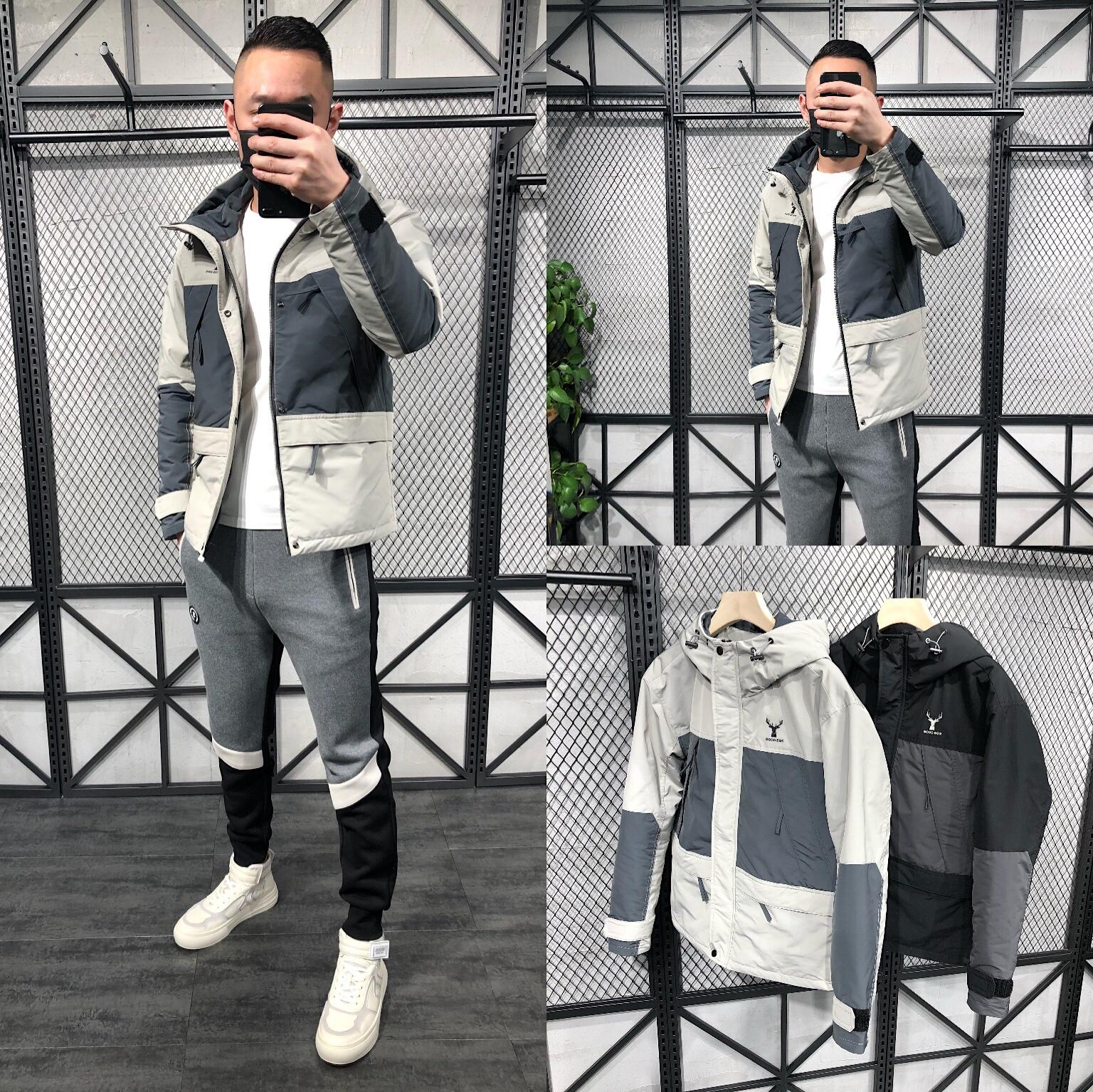 男士春季新款夹克外套韩版短款拼色男装外套潮流百搭款男装上衣潮