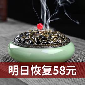 香炉家用熏香炉盘香室内带盖防火蚊香盘托创意陶瓷驱蚊檀香炉大号