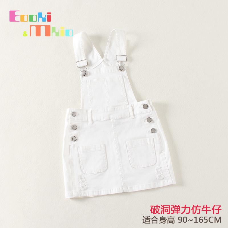 Небольшой e сделанный на заказ ребенок лето в больших детей девочки имитация ковбой ремень белое платье цвет подтяжки 2017 корейский летний костюм
