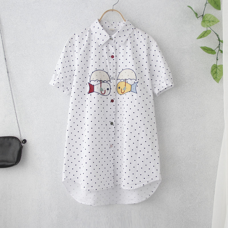 两只可爱小鱼刺绣圆点棉质衬衫女短袖18夏装新款文艺清新宽松学生