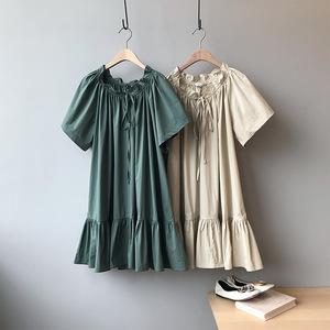 【言双】2019夏季小仙女棉质立体泡泡袖公主裙纯色连衣裙8955