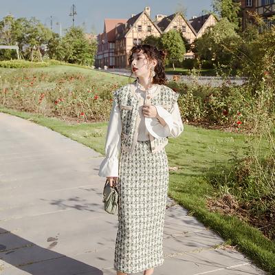 绿色千鸟格套装裙2020秋冬复古名媛小香风套装格子时尚两件套女