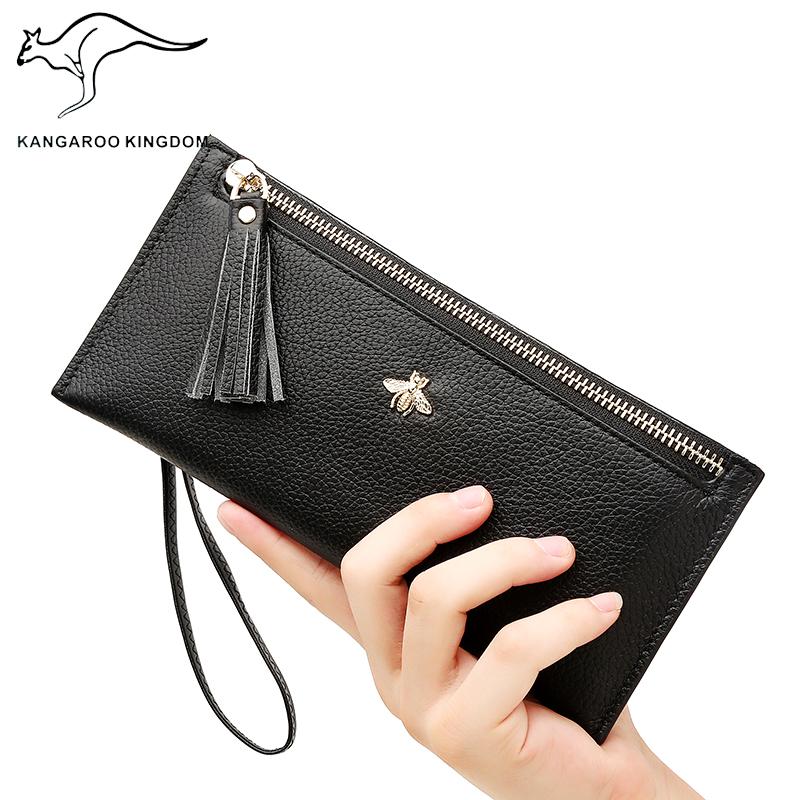 真澳 袋鼠2017新款女士钱包女长款拉链钱夹韩版大容量牛皮手拿包