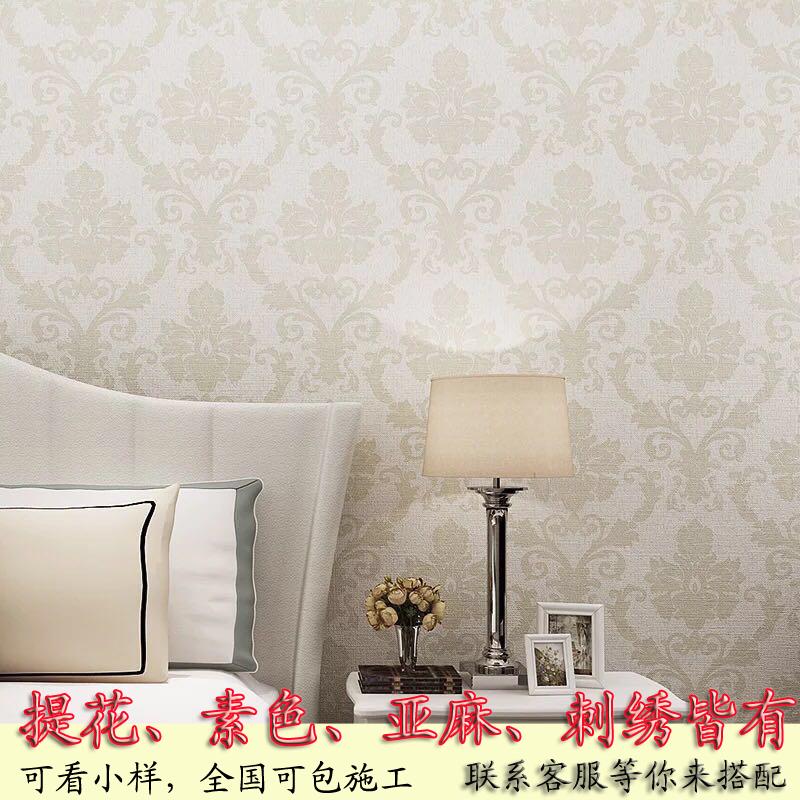 提花无缝墙布带花素色壁布简约现代客厅卧室高精密蚕丝欧式无纺布