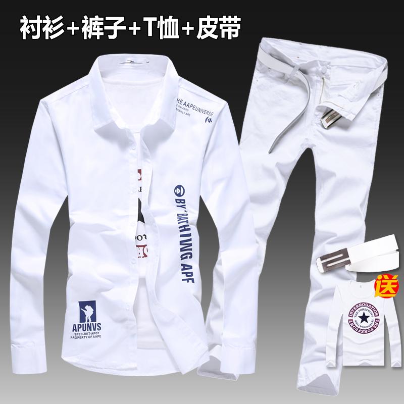 秋季新款男士韩版长袖衬衫牛仔长裤一套装潮流寸衫休闲衬衣男外套