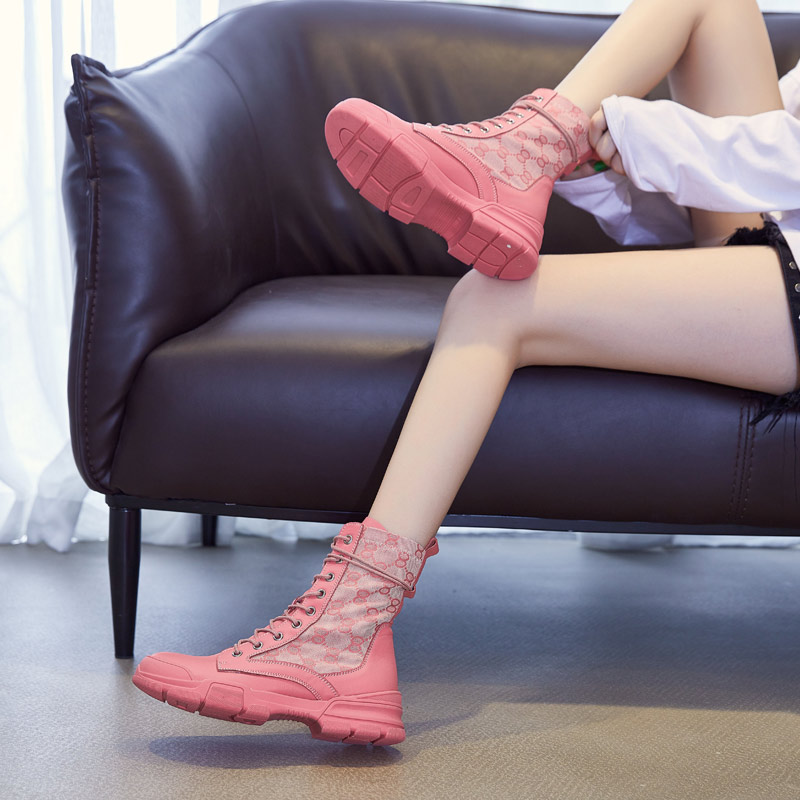 真皮网纱马丁靴女夏天款春夏薄靴子透气薄款百搭夏季短靴凉鞋单靴