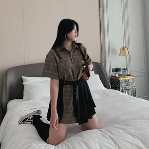 复古庄园大码格子休闲宽松显瘦衬衫开叉工装百褶修身短裙两件套女