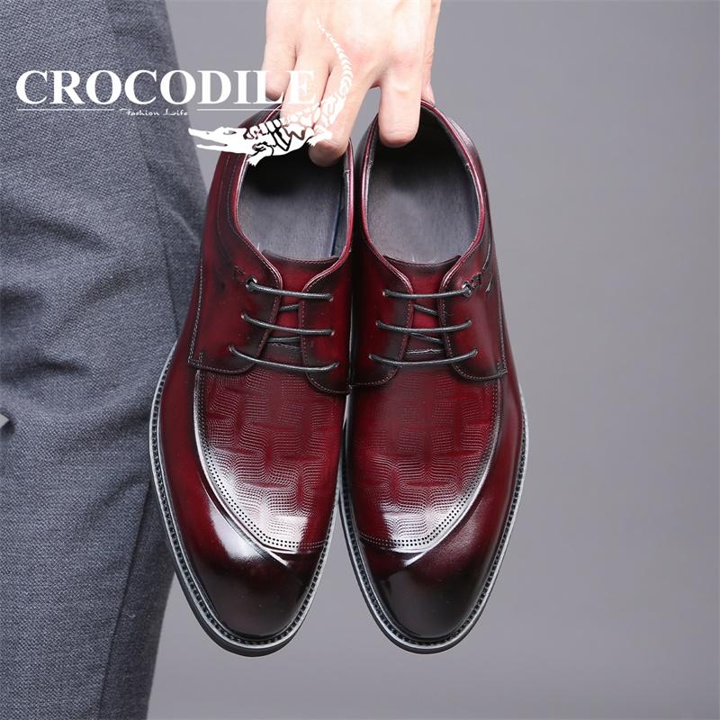 Crocodile/鳄鱼恤男鞋2021新款商务皮鞋真皮正装工作鞋EYX20521