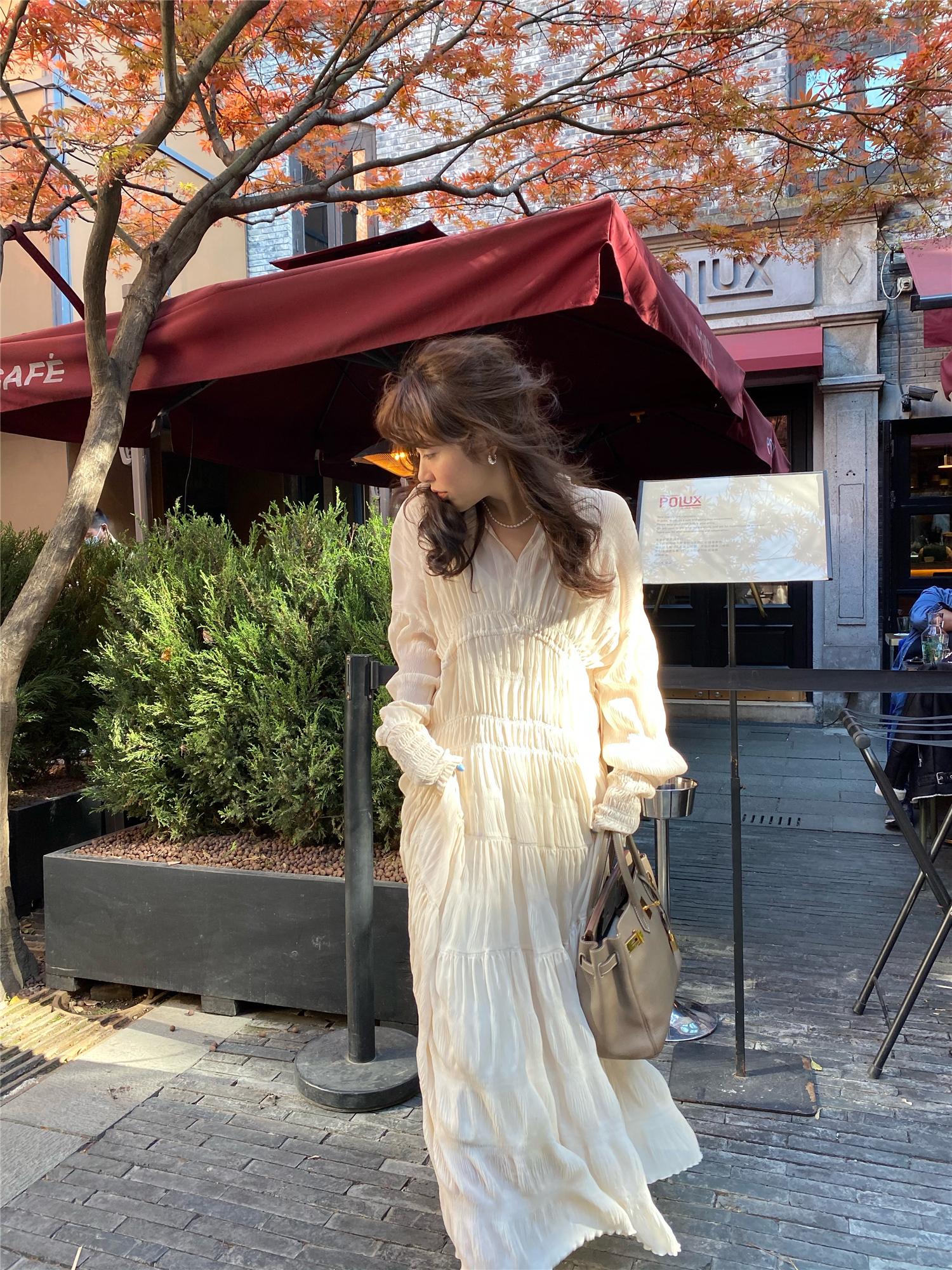 3ts 长袖甜美连衣裙2021新款夏季泫雅风气质长裙洋气显瘦雪纺裙子