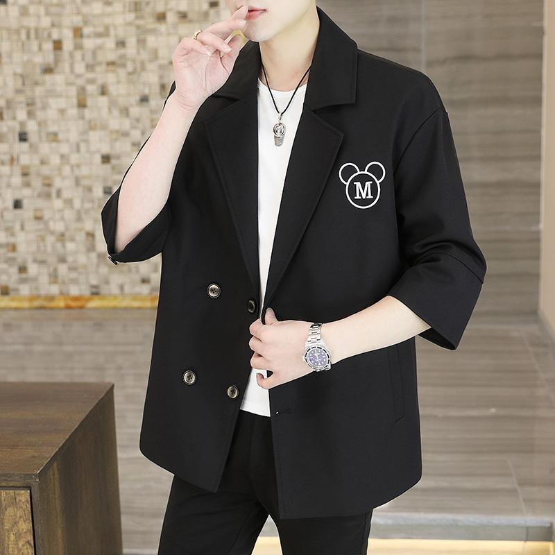 男士休闲七分袖西服上衣外套春季韩版潮流痞帅薄款小西装X955P90