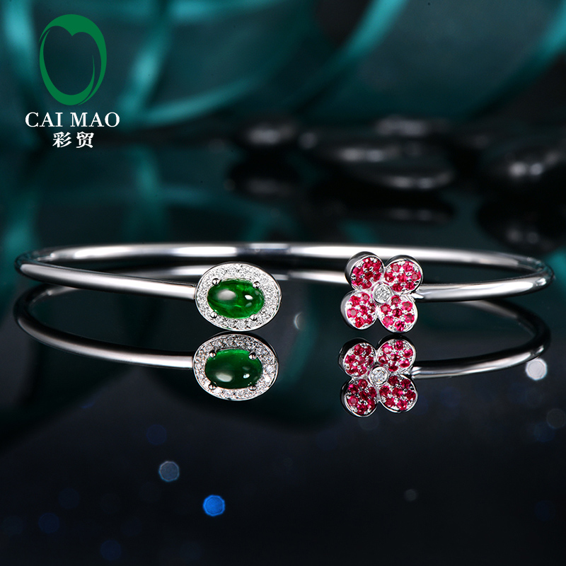 Color trade quality made 63 points natural plain emerald 11 points Diamond & 18 points Ruby 18K Gold Jewelry Bracelet