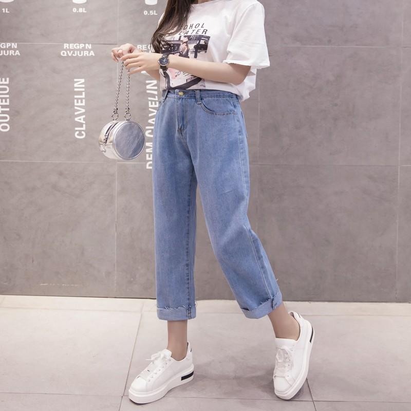 2021夏の明るい色のストレートジーンズの女性のゆったりとしたサイズの百合bf韓国版のワイド脚の九分のズボンの高腰のズボン