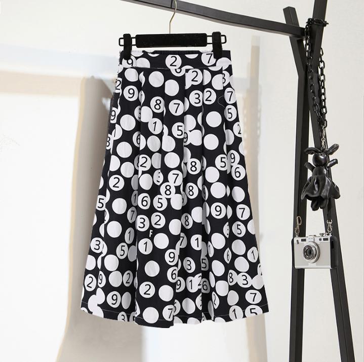 半身裙中长款2019新款夏高腰显瘦波点裙适合胯大腿粗的裙子