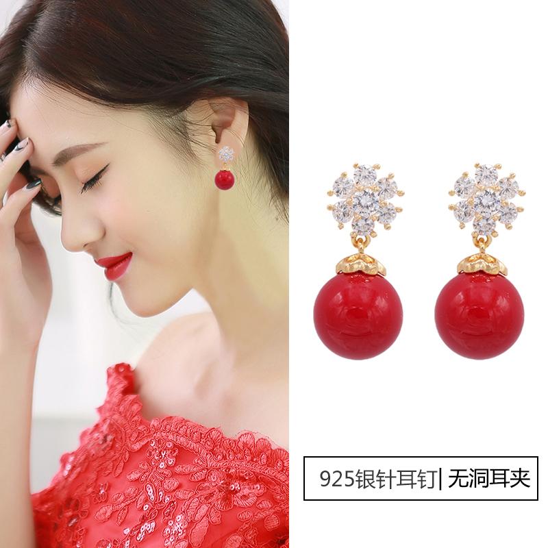 紅色珍珠耳環新娘耳飾無耳洞耳夾結婚 禮服耳釘飾品蝴蝶結無洞