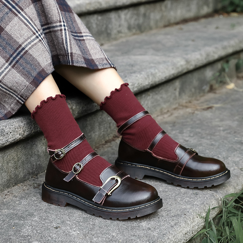 Leather shoes for High School Girls College style JK shoes uniform Lolita buckle Japanese middle two retro Lo single shoes