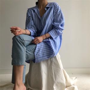 2613#现货 原版料 韩国 chic  简约 衬衫 条纹 连衣裙