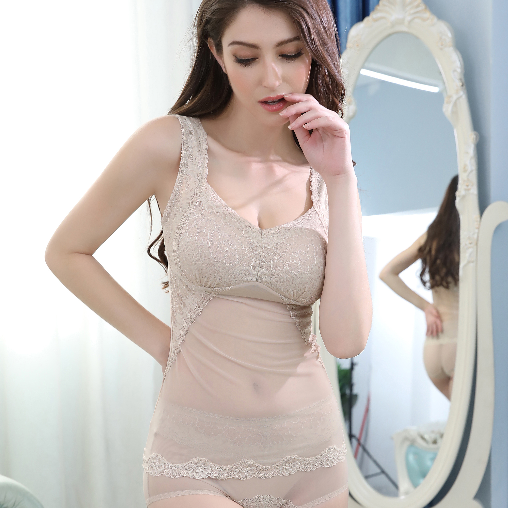 Meidiqi non steel ring closed breast vest type long full cup comfortable one-piece fixed wide shoulder strap womens Bra