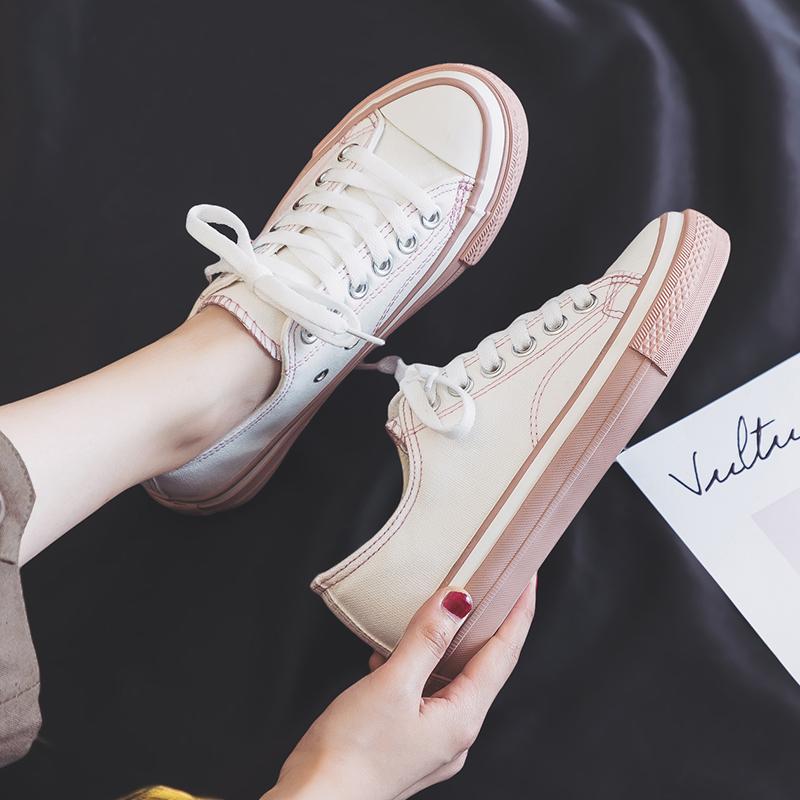 帆布鞋女学生韩版2019夏季新款拼色潮流百搭球鞋板鞋休闲小白鞋子
