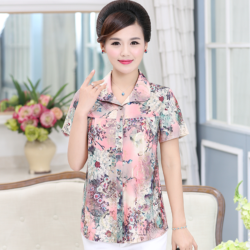 Middle aged and elderly womens summer clothes new Chiffon mothers printed large size top middle aged peoples Lapel Summer Short Sleeve Shirt