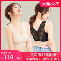 美背文胸薄款背心式无痕运动内衣女无钢圈小胸罩聚拢收副乳防下垂