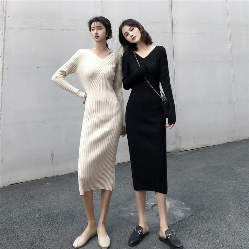 春款法式复古v领修身针织连衣裙(非品牌)