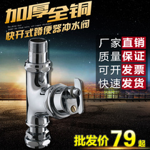 Full Copper knob toilet quick-open squat flushing valve stool flushing valves Squat pit hand twist angle switch