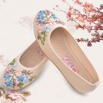 老北京绣花布鞋女汉服鞋平底民族风防滑透气软底鞋老人鞋妈妈鞋