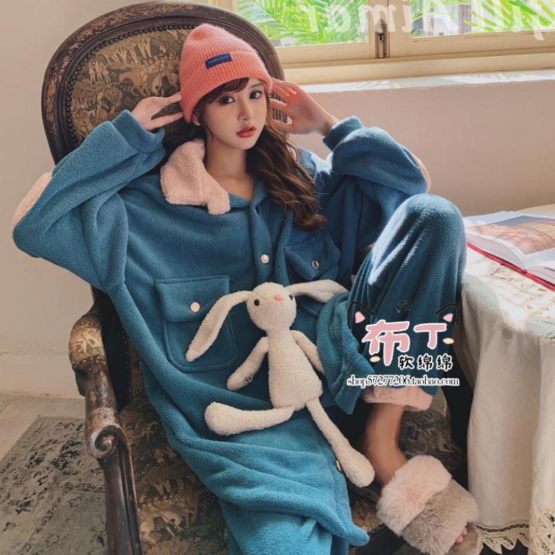 日本のジェラートぴイク秋冬の厚手フランネルのパジャマカートゥーンうさぎのぬいぐるみホームスーツ
