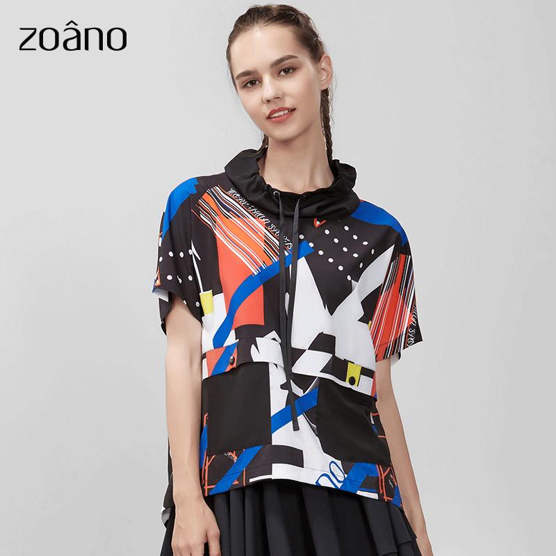 运动风印花短袖T恤女个性时尚设计新款宽松撞色立领假两件女上衣