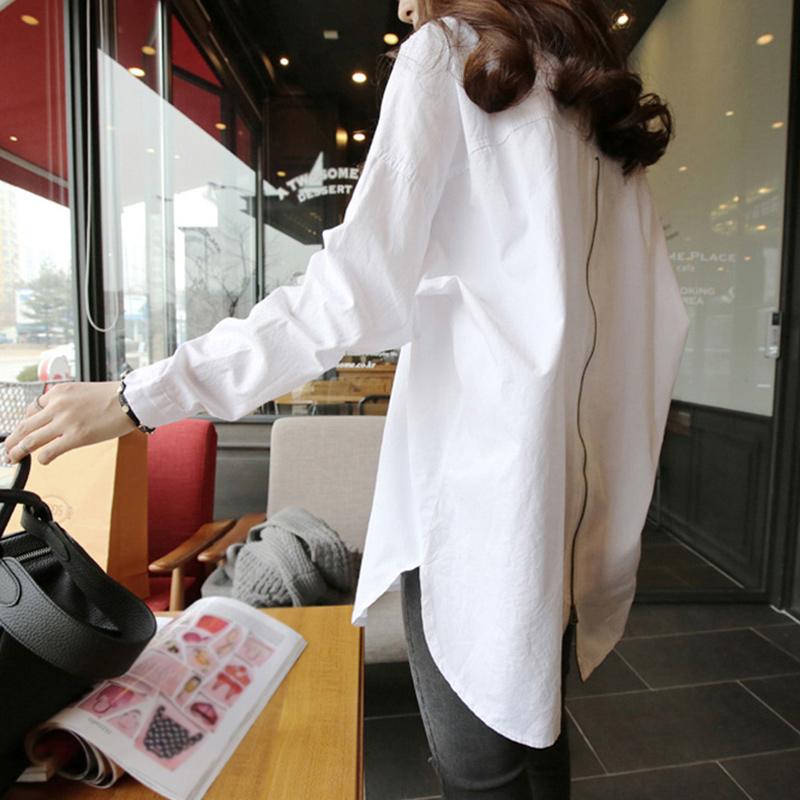 白色长袖2021年春装新款中长款衬衫