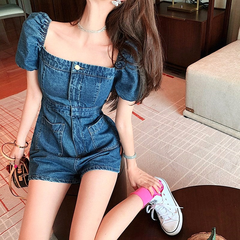Blue fashionable one-piece pants large summer off shoulder casual pants square neck one-piece shorts wide leg womens thin one-piece