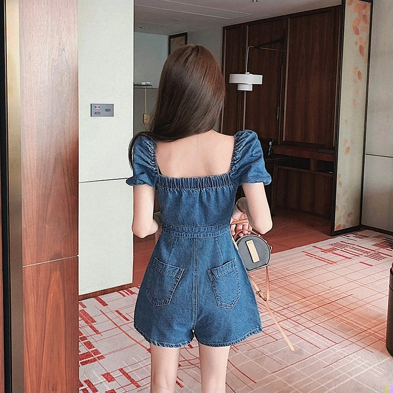 Short Jumpsuit small short sleeve new versatile summer small fresh square neck Jumpsuit shorts slim